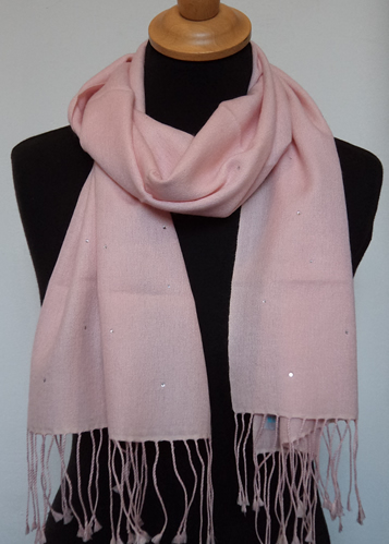 PD060SC Pashmina Cashmere & Silk Scarf with Swarovski Crystals  Size 30 x 150cms  Colours available:  Pale Pink, Fuchsia Pink, Candy Pink, Ivory,  Bright Red, Café au Lait, Pewter Grey, Plum, Seagreen,  Elderflower and Black.  FEBRUARY OFFER PRICE £29.95